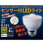 取り替えるだけでセンサーライトに! 人感センサー付LED電球
